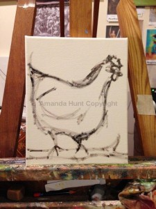 Amanda Hunt chickens sketch